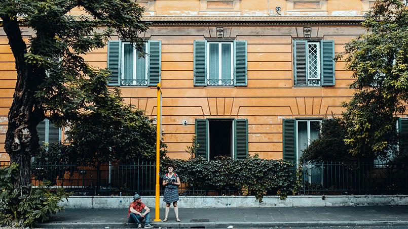 Tourists bus stop Rome