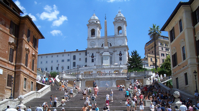 Tourists on the Spanish Steps