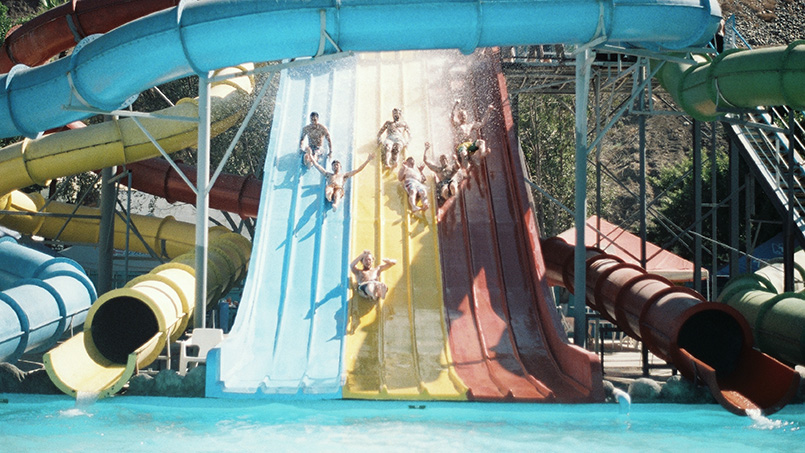 Water park slides fun outdoors