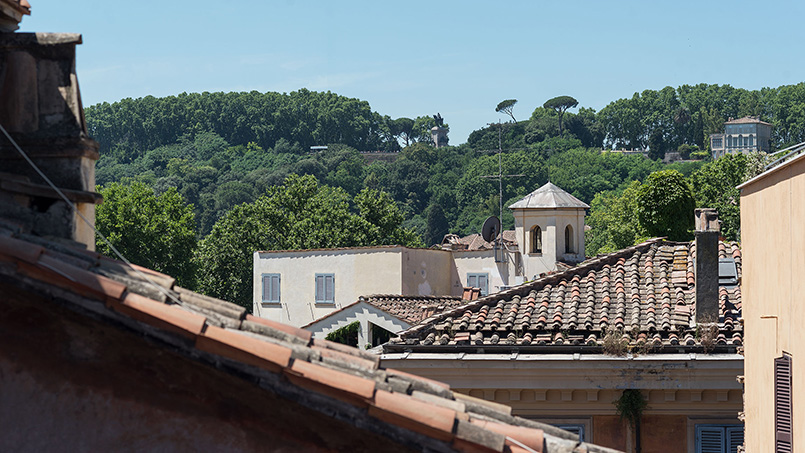 View of the Janiculum Hill from Via dei Cartari rental apartment From Home to Rome