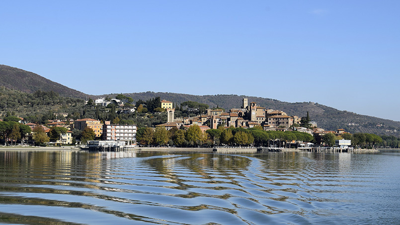 the town of Passignano, Umbria, seen from Lake Trasimeno