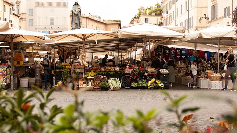 Stalls campo de fiori market Rome Italy