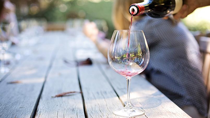 Red wine bottle tasting near Rome Italy