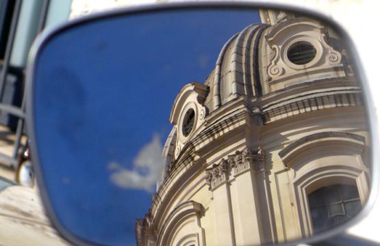 A church in a mirror